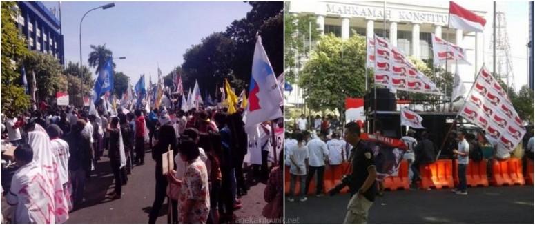 Jumlah Pendemo Kubu Prabowo di MK Berkurang Drastis