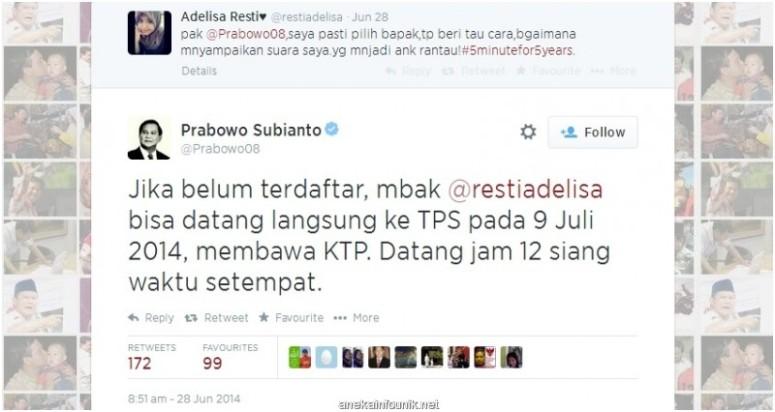 Kicauan Prabowo di Twitter Sarankan Pendukung Terdaftar di DPKTb